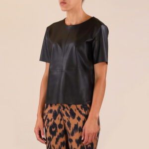 Mix Faux Leather Top2